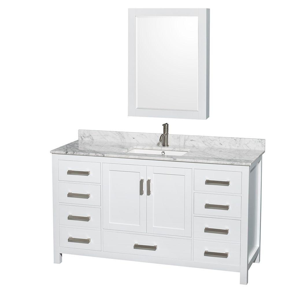 """60 Bathroom Vanities  60"""" Sheffield Single Bathroom Vanity in White"""