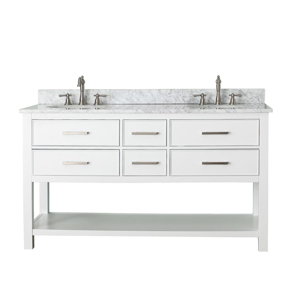 """60 Bathroom Vanities  Avanity Brooks 60"""" Double Bathroom Vanity White"""
