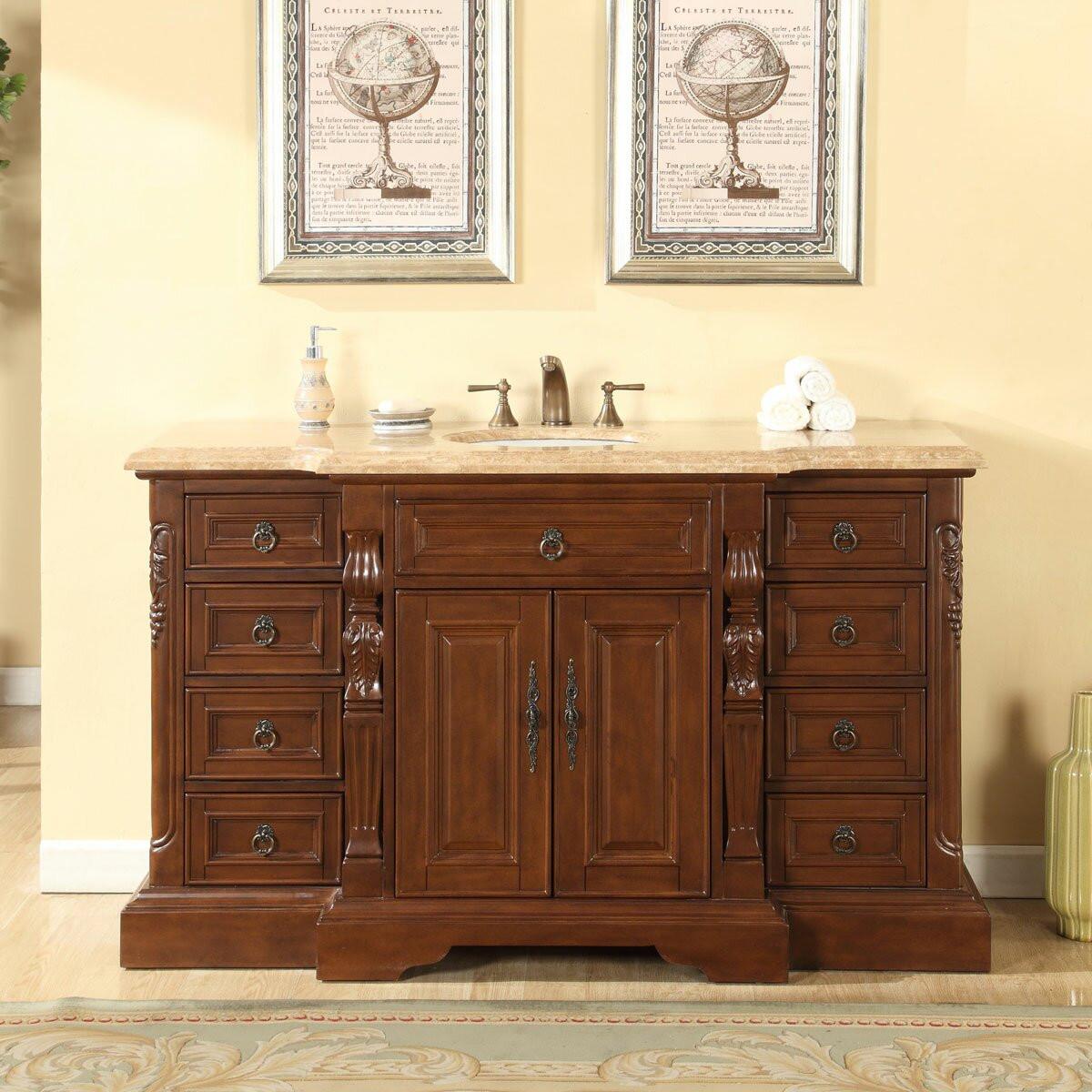 """60 Bathroom Vanities  Silkroad Exclusive 60"""" Single Sink Bathroom Vanity Set"""