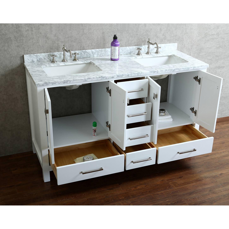"60 Bathroom Vanities  Buy Vincent 60"" Solid Wood Double Bathroom Vanity in White"