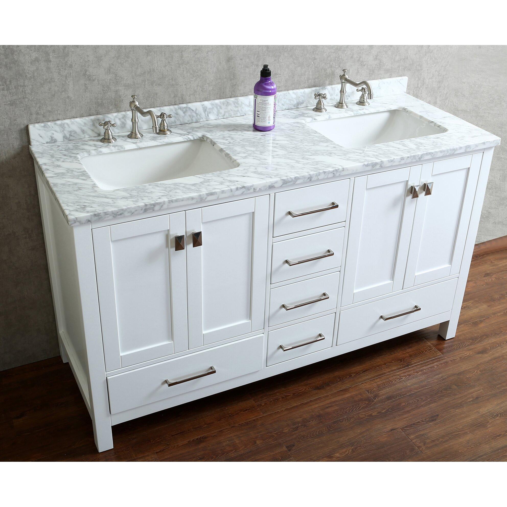 """60 Bathroom Vanities  Ari Kitchen & Bath Bella 60"""" Double Bathroom Vanity Set"""