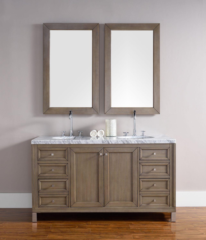 "60 Bathroom Vanities  60"" Chicago Whitewashed Walnut Double Sink Bathroom Vanity"
