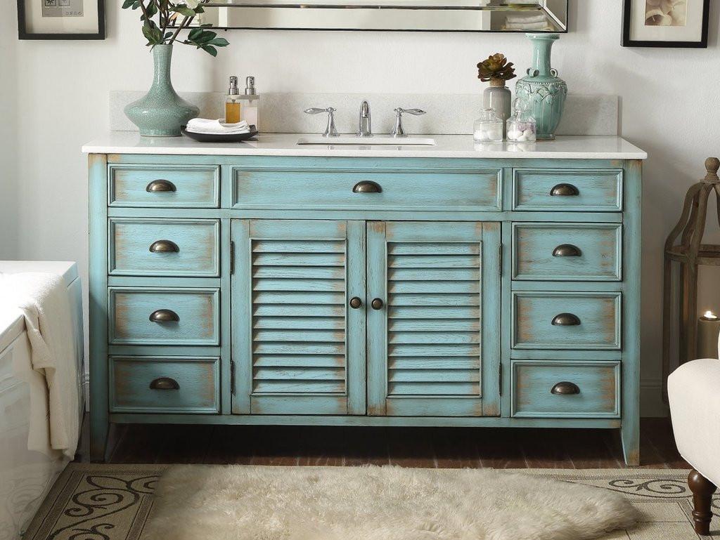 """60 Bathroom Vanities  60"""" Distressed blue Single Sink Abbeville Bathroom Sink"""
