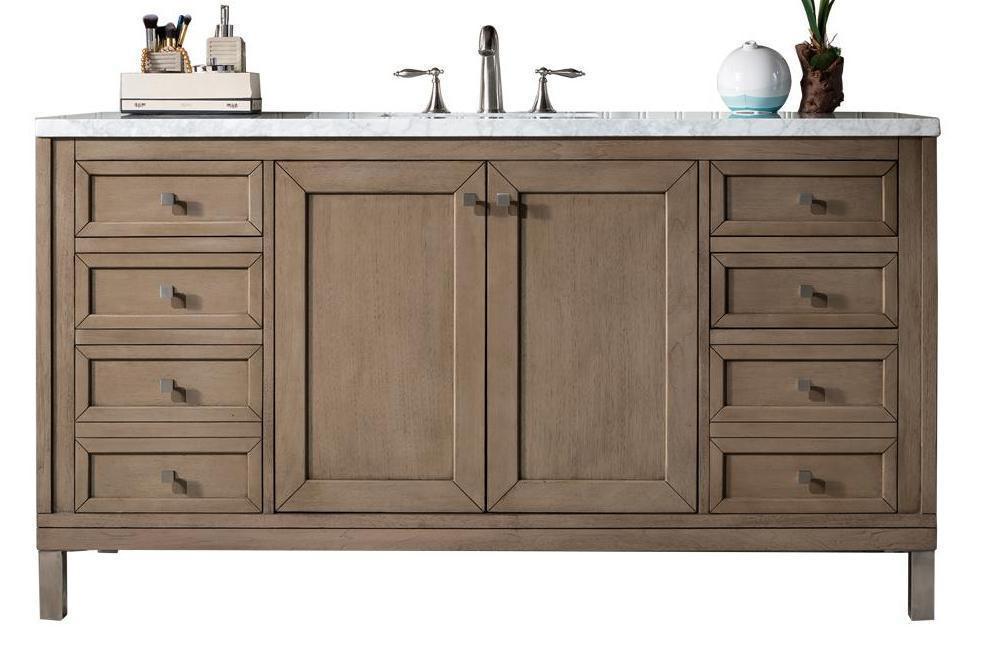 """60 Bathroom Vanities  60"""" Chicago Whitewashed Walnut Single Sink Bathroom Vanity"""