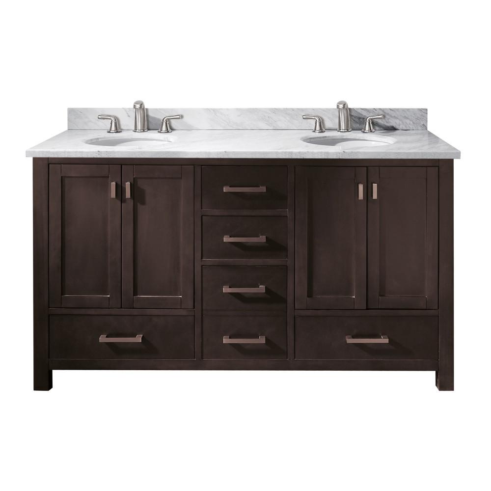 """60 Bathroom Vanities  Avanity Modero 60"""" Double Bathroom Vanity Espresso"""