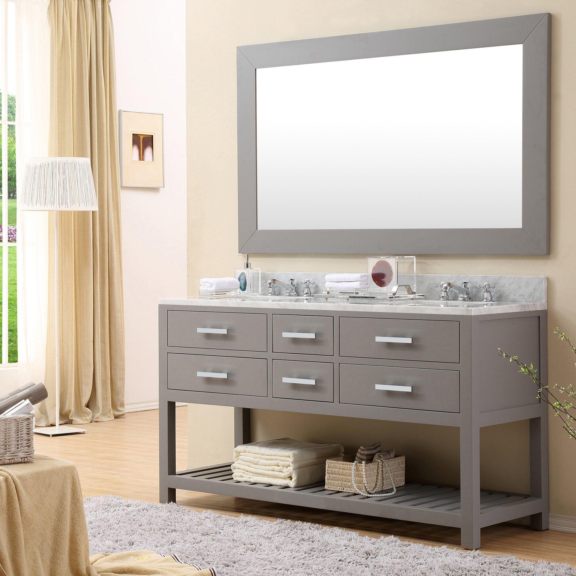 """60 Bathroom Vanities  dCOR design Creighton 60"""" Double Sink Bathroom Vanity Set"""