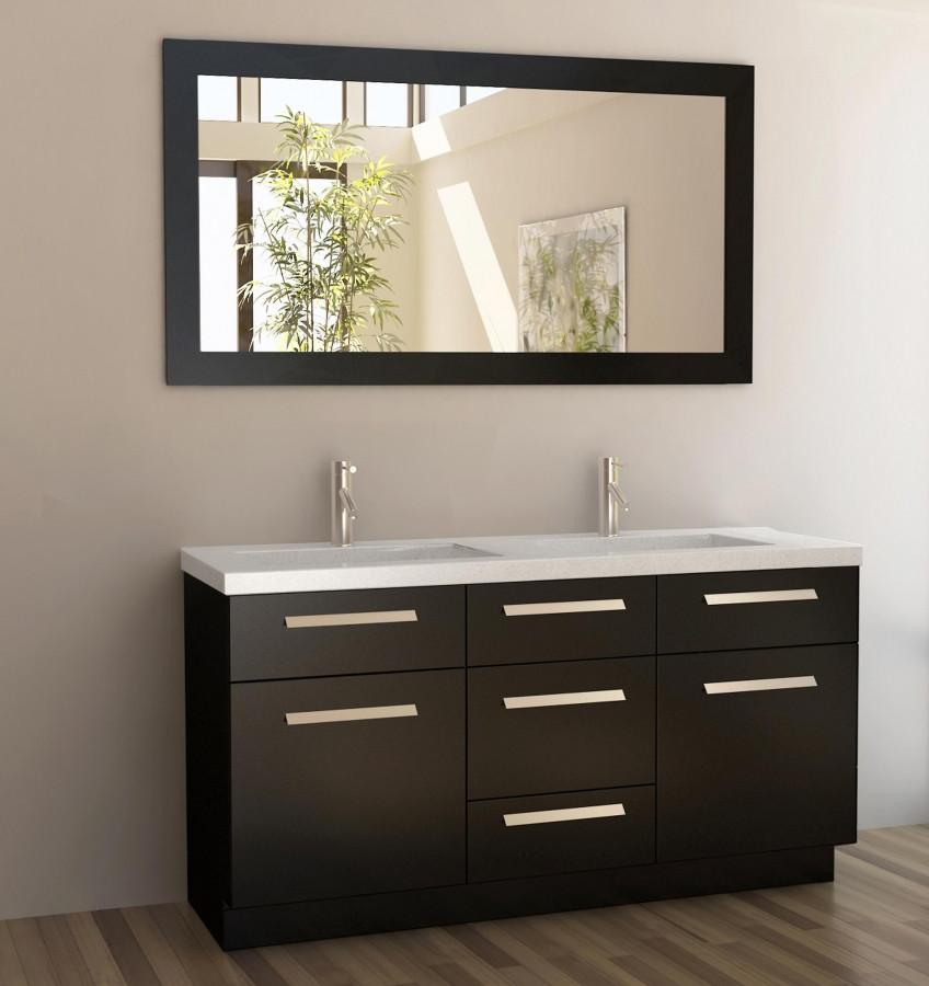 60 Bathroom Vanities  60 Inch Double Sink Bathroom Vanity with Quartz Top