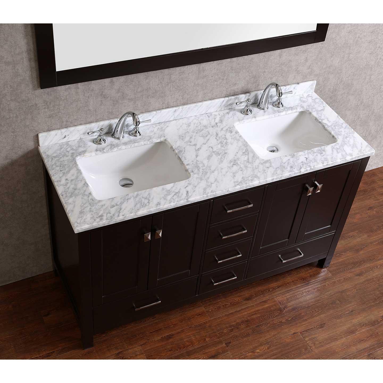 """60 Bathroom Vanities  Buy Vnicent 60"""" Solid Wood Double Bathroom Vanity in"""