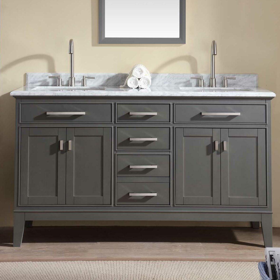 """60 Bathroom Vanities  Ari Kitchen & Bath Danny 60"""" Double Bathroom Vanity Set"""