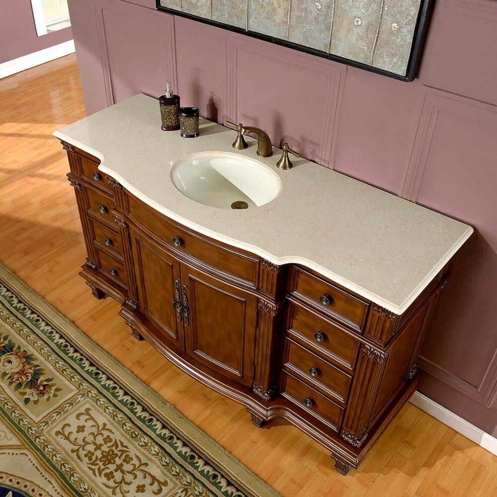 "60 Bathroom Vanities  Silkroad Exclusive Esther 60"" Single Bathroom Vanity Set"