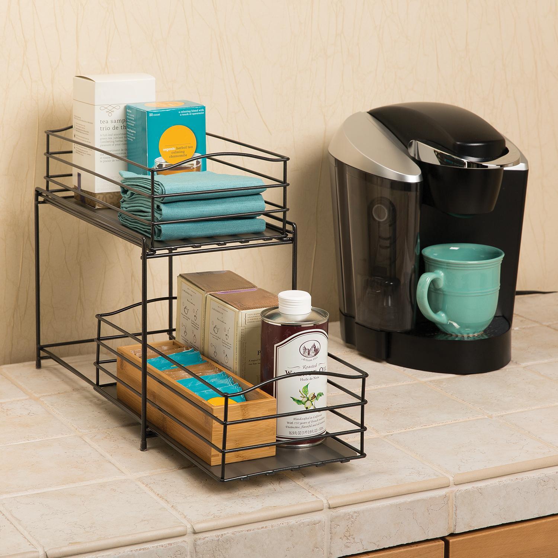 Amazon Kitchen Storage  Amazon Seville Classics 2 Tier Sliding Basket