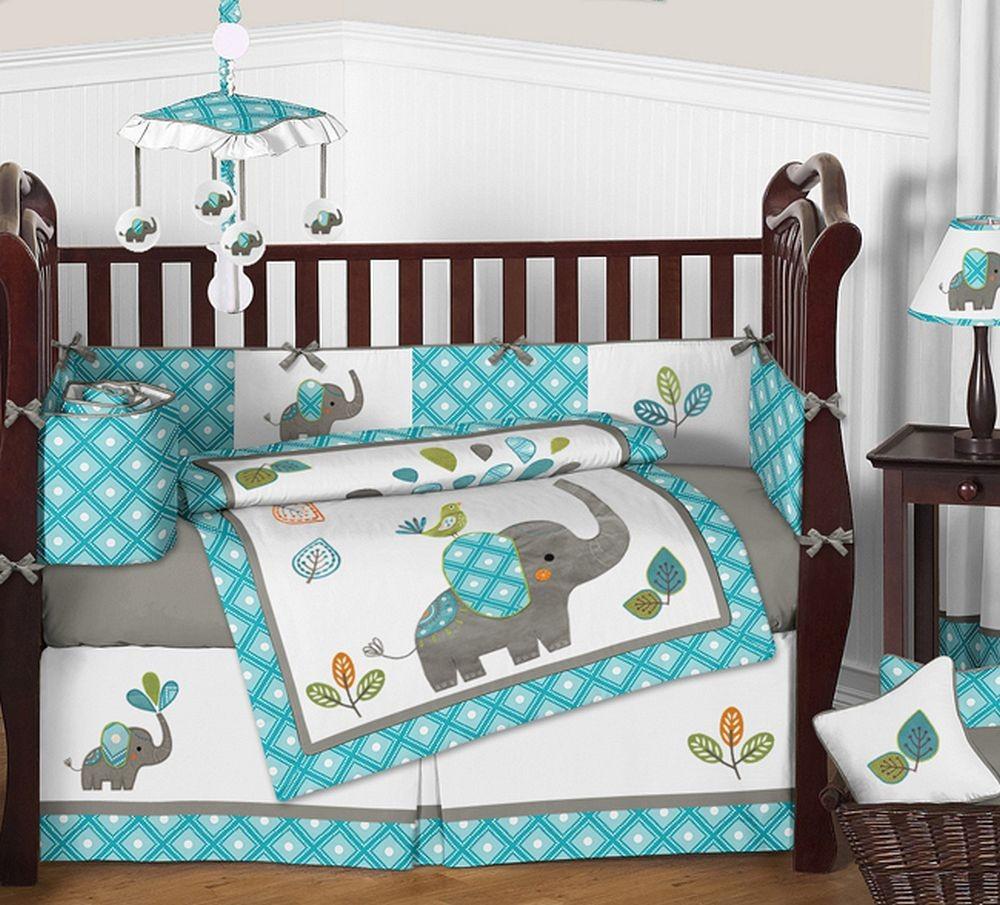 Baby Boy Bedroom Sets  Mod Elephant Crib Bedding Set by Sweet Jojo Designs 9
