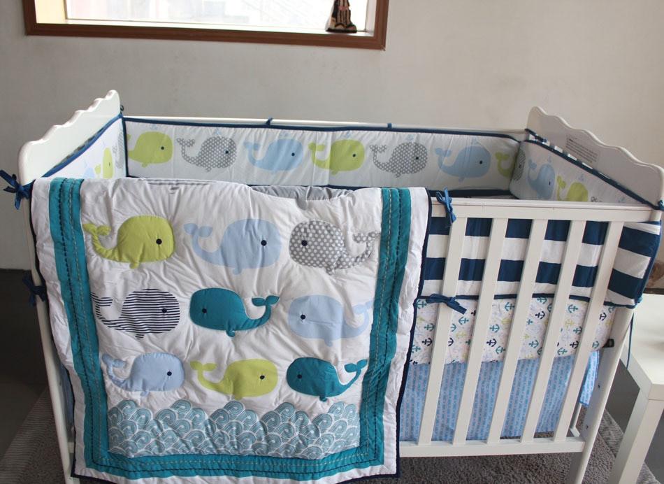 Baby Boy Bedroom Sets  Whales 7pc Nursery Crib Bedding set newborn Baby boy cot