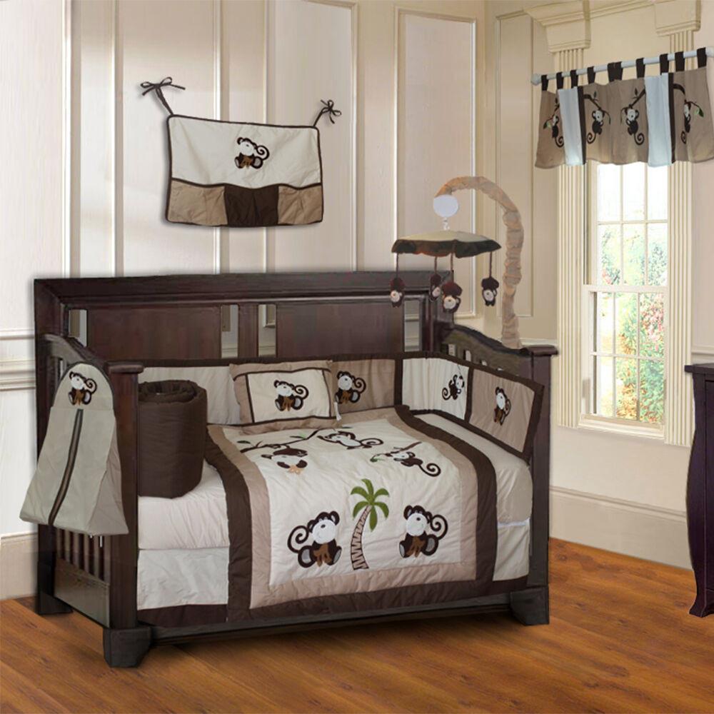 Baby Boy Bedroom Sets  10 Piece Monkey Boys Baby Crib Bedding set includes