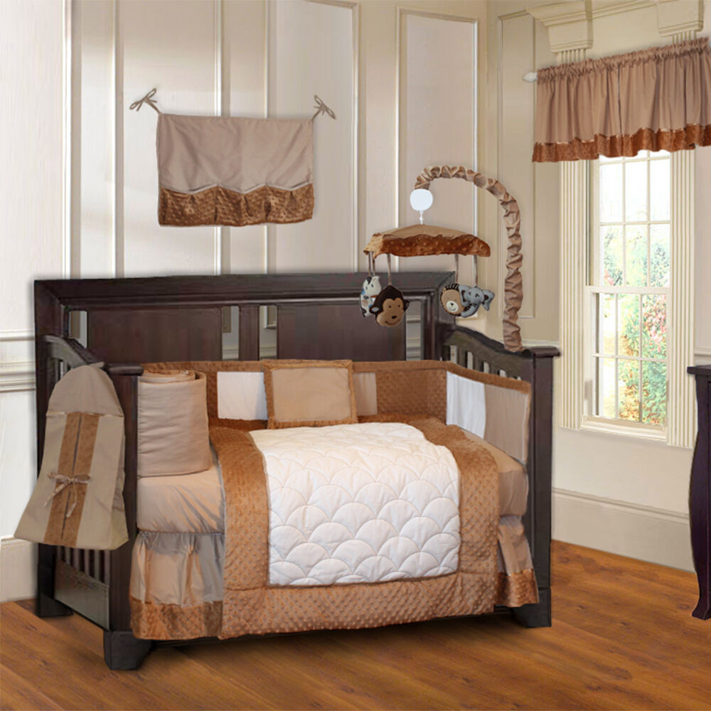 Baby Boy Bedroom Sets  BabyFad Minky Brown 10 piece Boys Baby Crib Bedding Set