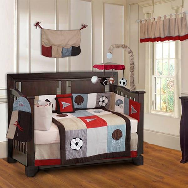 Baby Boy Bedroom Sets  Shop BabyFad Go Team 10 piece Baby Boy Sports Crib Bedding