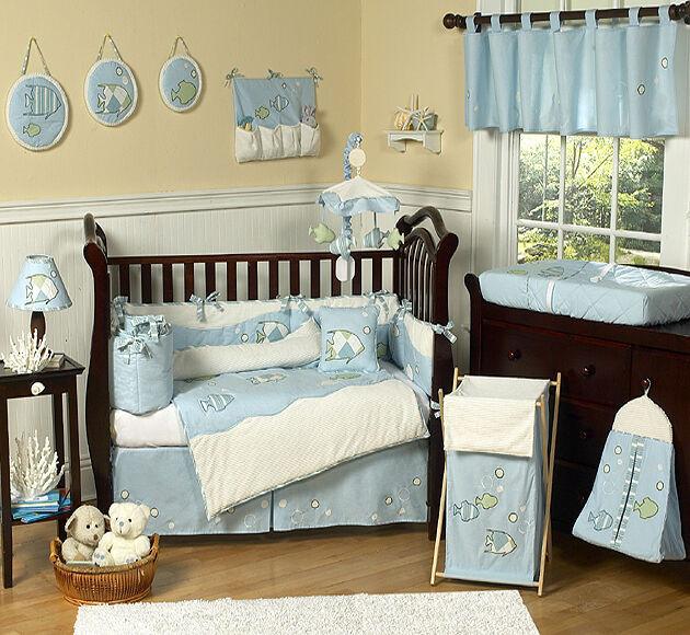 Baby Boy Bedroom Sets  DESIGNER BLUE WHITE SEA OCEAN FISH THEME 9pc BABY BOY CRIB