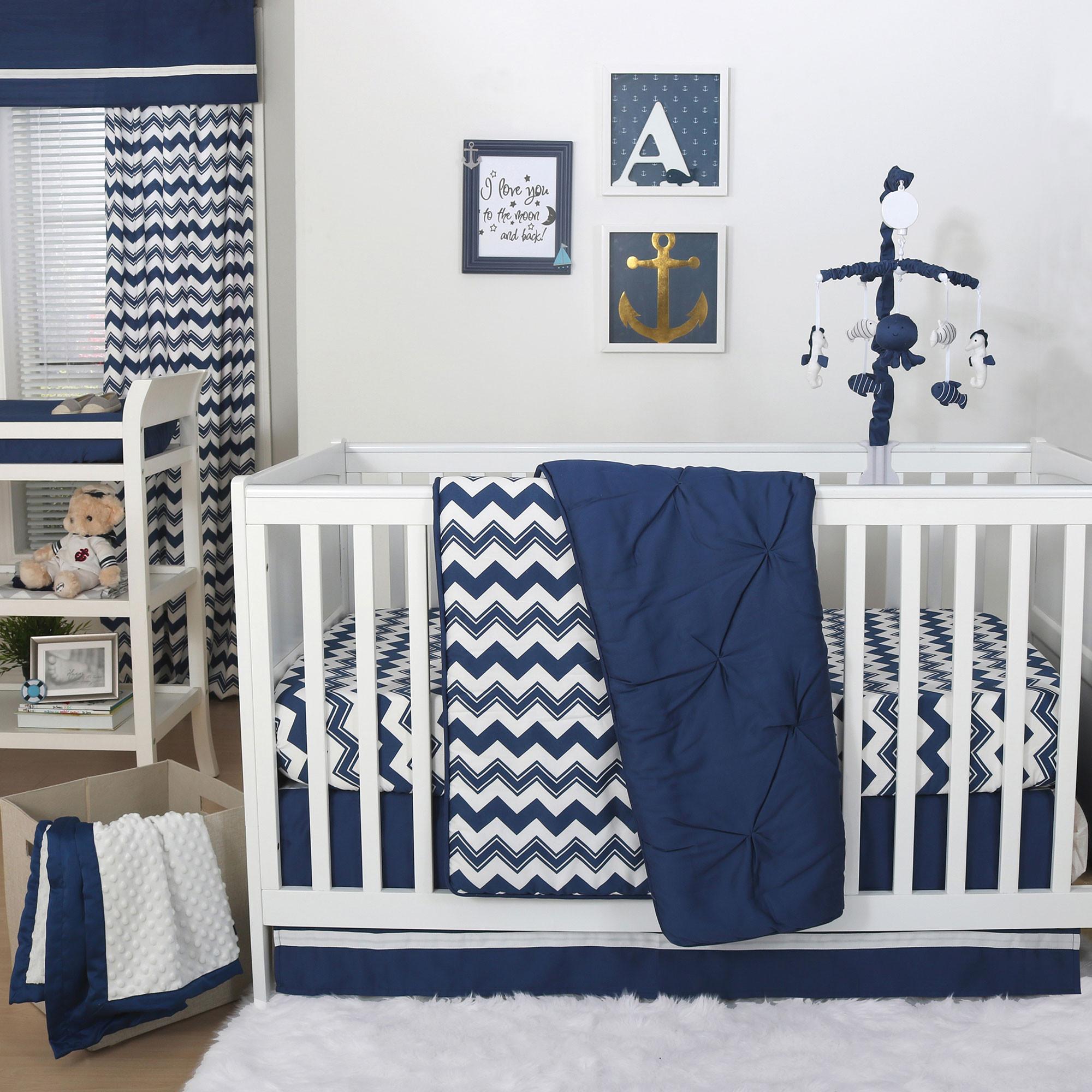 Baby Boy Bedroom Sets  The Peanut Shell 4 Piece Baby Boy Crib Bedding Set Navy