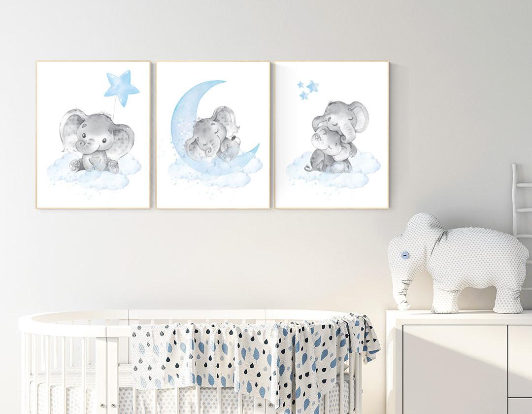 Baby Elephant Room Decor Awesome Nursery Decor Boy Elephant Nursery Wall Art Elephant