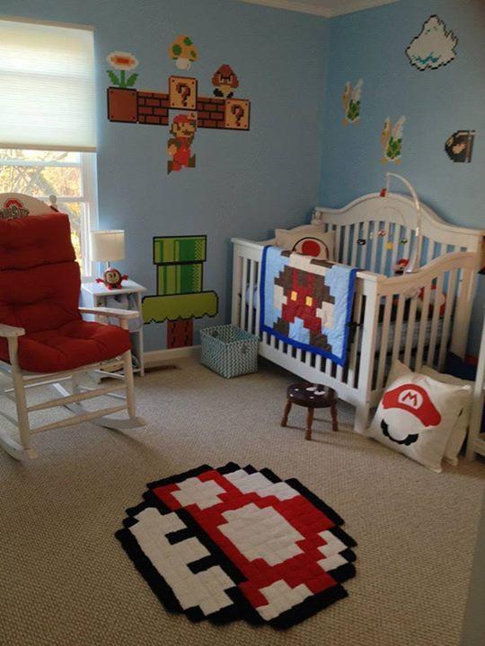 Baby Room Decoration Game  Super Mario Bros themed baby nursery Mario blanket