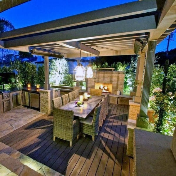 Backyard Deck Plans  Top 40 Best Deck Roof Ideas Covered Backyard Space Designs
