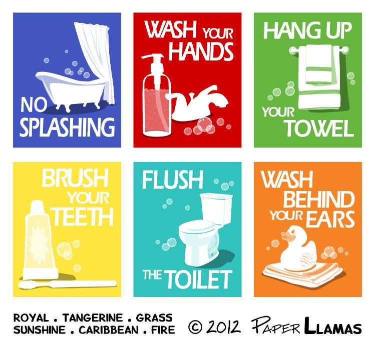 Bathroom Rules For Kids  Bathroom Art Prints pick any 4 prints and choose your