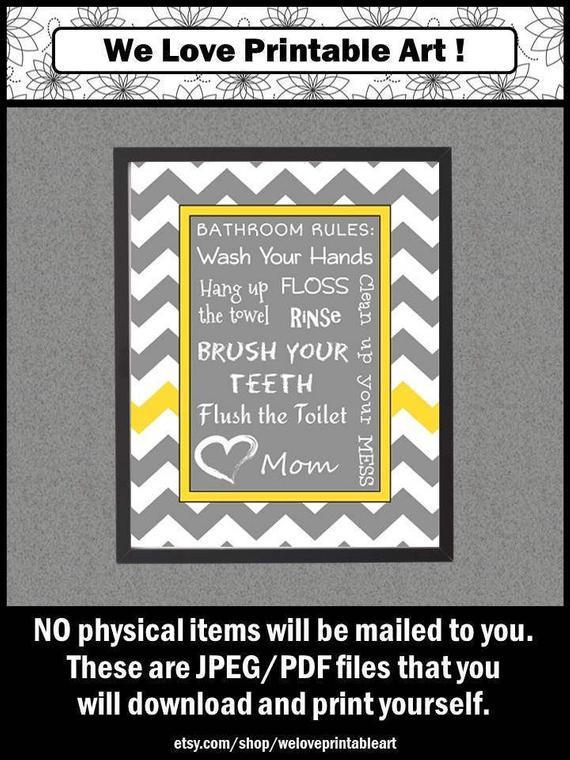 Bathroom Rules For Kids  Kids Bathroom Rules Printable Sign Rules for Kids Wash