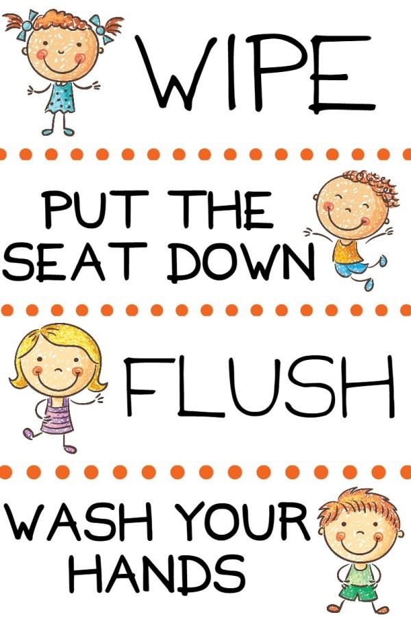 Bathroom Rules For Kids  Kids Potty Training Bathroom Basket