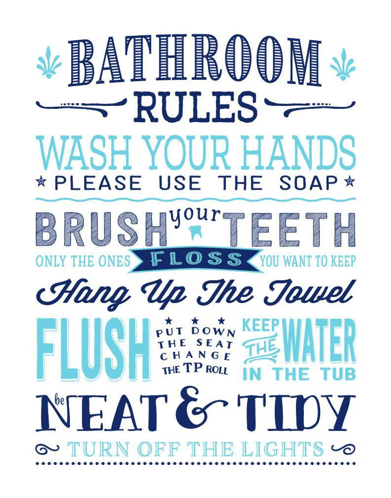Bathroom Rules For Kids  Kids Bathroom Rules Art Print Pre Teen Bathroom Subway