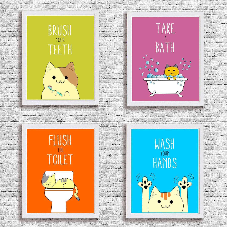 Bathroom Rules For Kids  Bathroom Rules Art Print Child Wall Decor Printable Cat