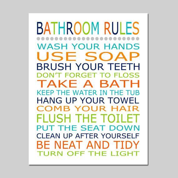 Bathroom Rules For Kids  Bathroom Rules Bathroom Decor Kids Bathroom Art Kids