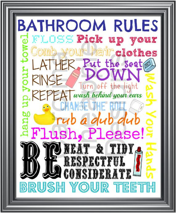 Bathroom Rules For Kids  Items similar to Bathroom Rules Kids Bathroom Rules Subway