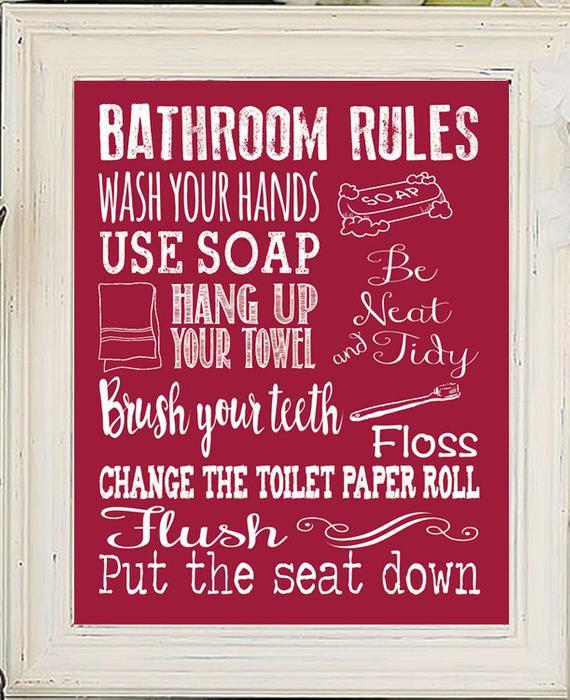 Bathroom Rules For Kids  Bathroom Rules Decor Kids Bathroom Rules Fun by JandSGraphics