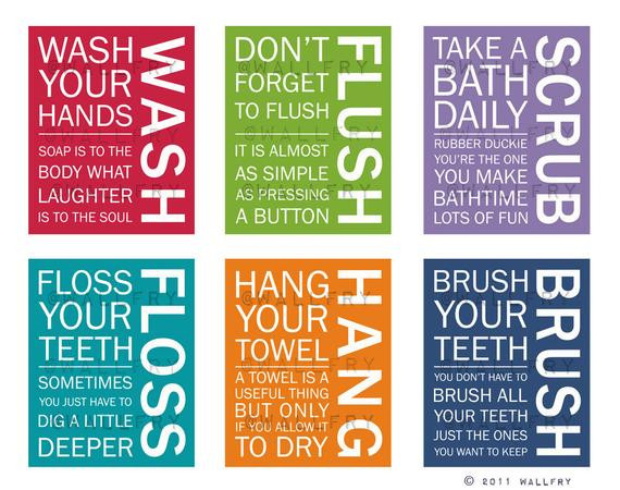 Bathroom Rules For Kids  FULL SET of 6 Bathroom art prints Bathroom Rules Kids