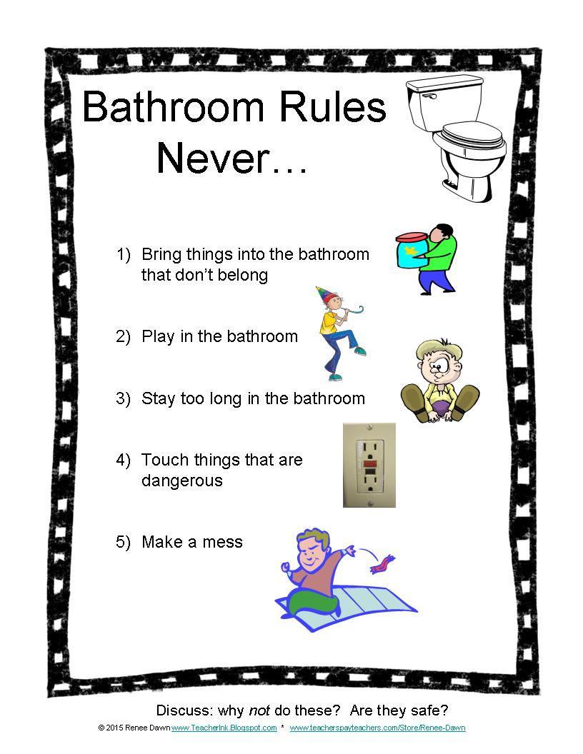 Bathroom Rules for Kids New Teacher Ink Bathroom Rules for Kids