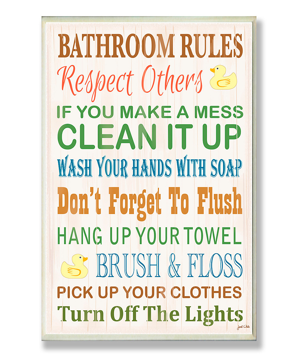 Bathroom Rules For Kids  Bathroom Rules Rubber Ducky Wall Plaque