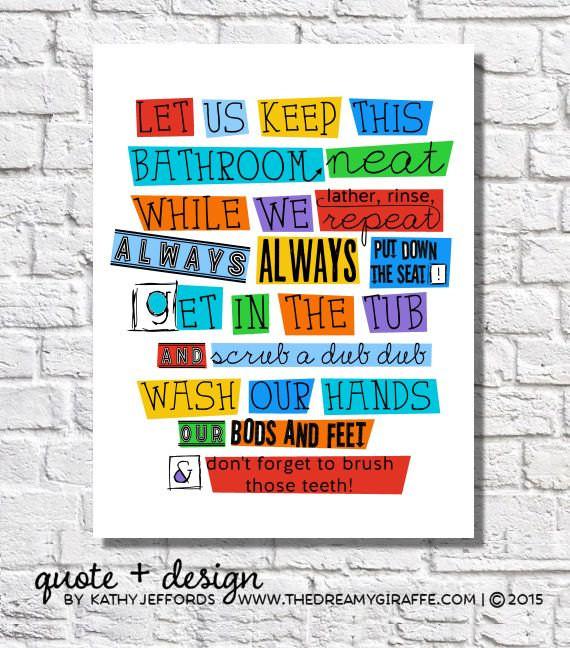 Bathroom Rules For Kids  Bathroom Wall Decor Kids Bathroom Rules Boys Bathroom Wall Art