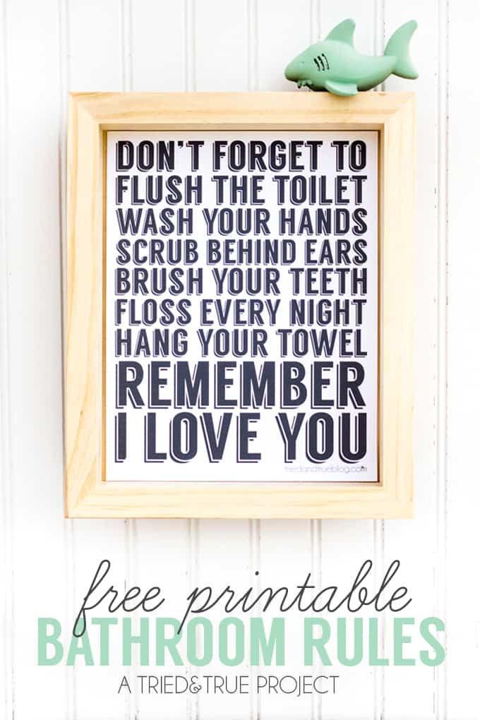 "Bathroom Rules For Kids  ""Remember I Love You"" Free Bathroom Art Tried & True"