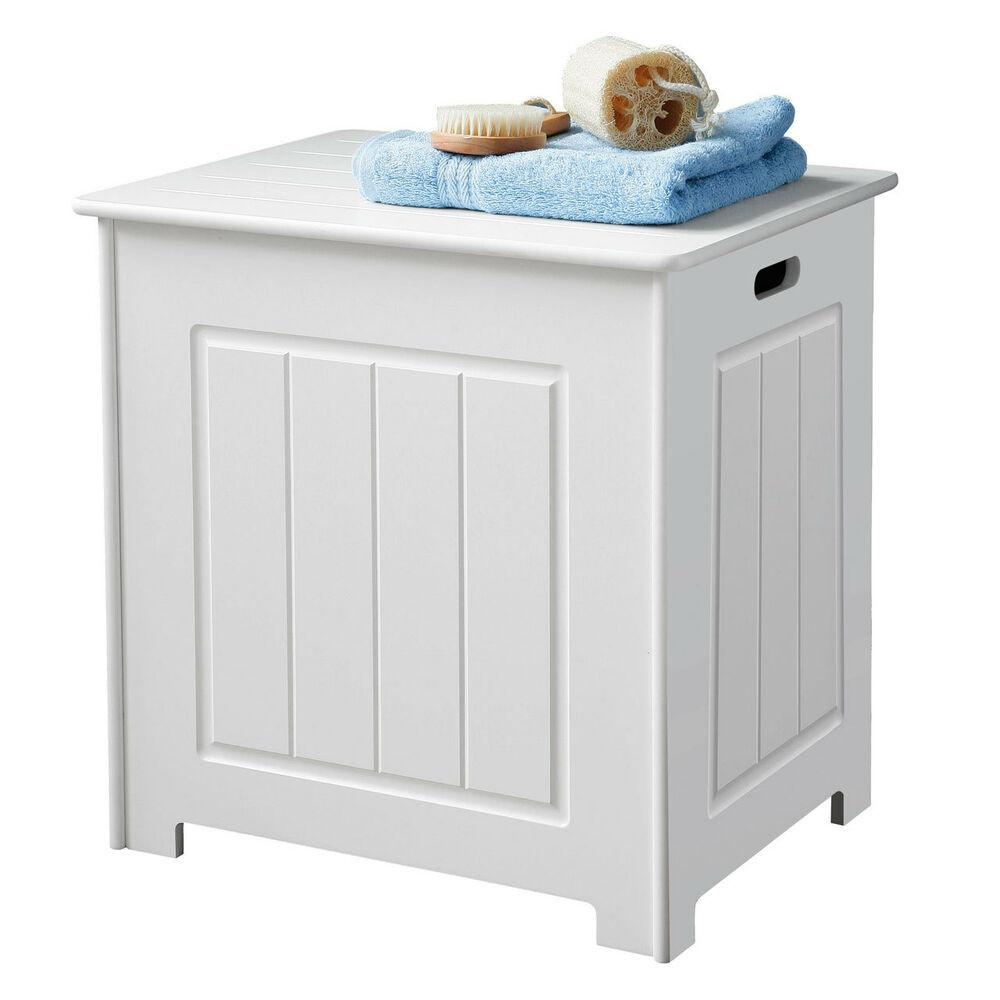 Bathroom Storage Boxes  Bathroom Storage Unit Cabinet Chest White Wood Laundry
