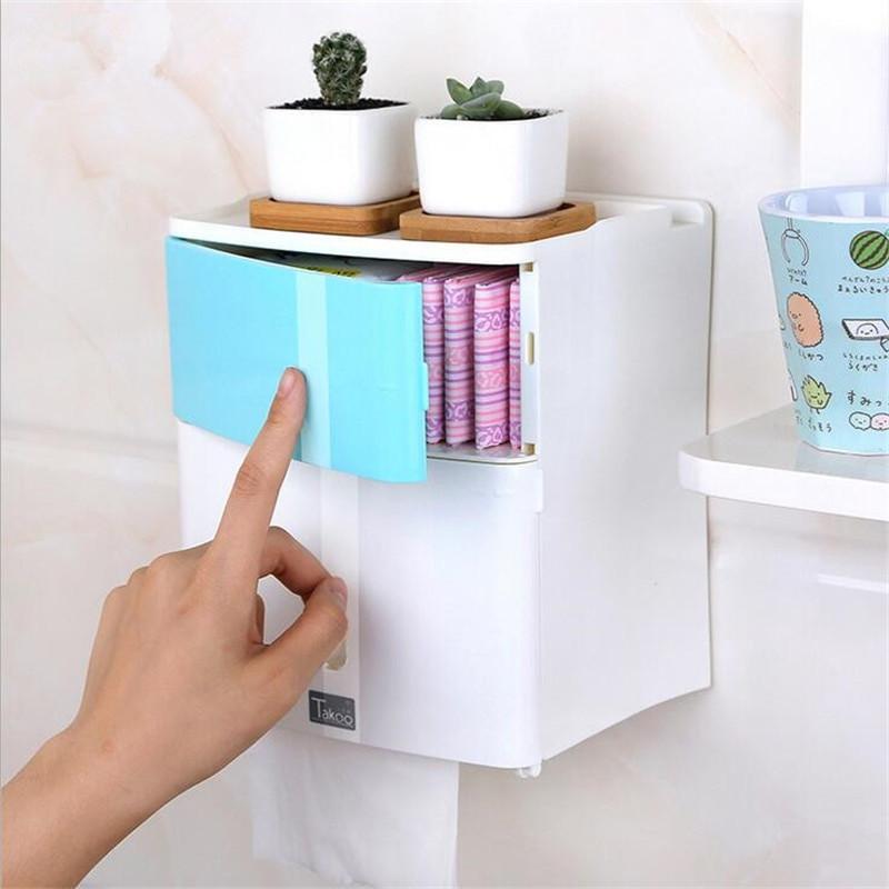 Bathroom Storage Boxes  Double Layer Bathroom Storage Box Toilet Paper Sanitary