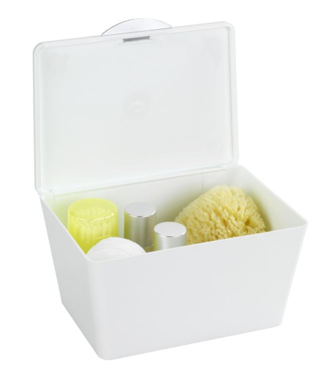 Bathroom Storage Boxes  Wenko Brasil White Bathroom Storage Box with lid
