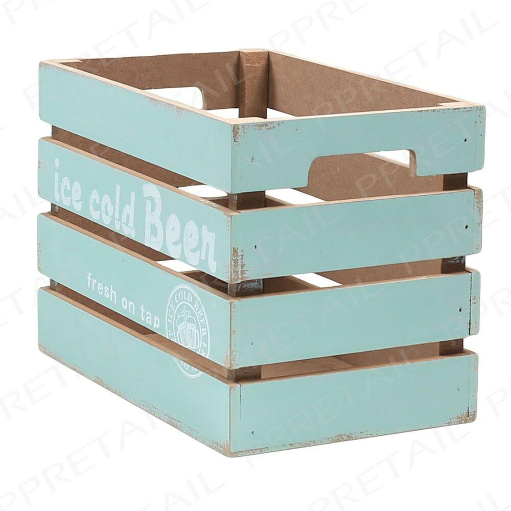 Bathroom Storage Boxes  Rustic GREEN Wooden Slated Storage Box VINTAGE RETRO Drink