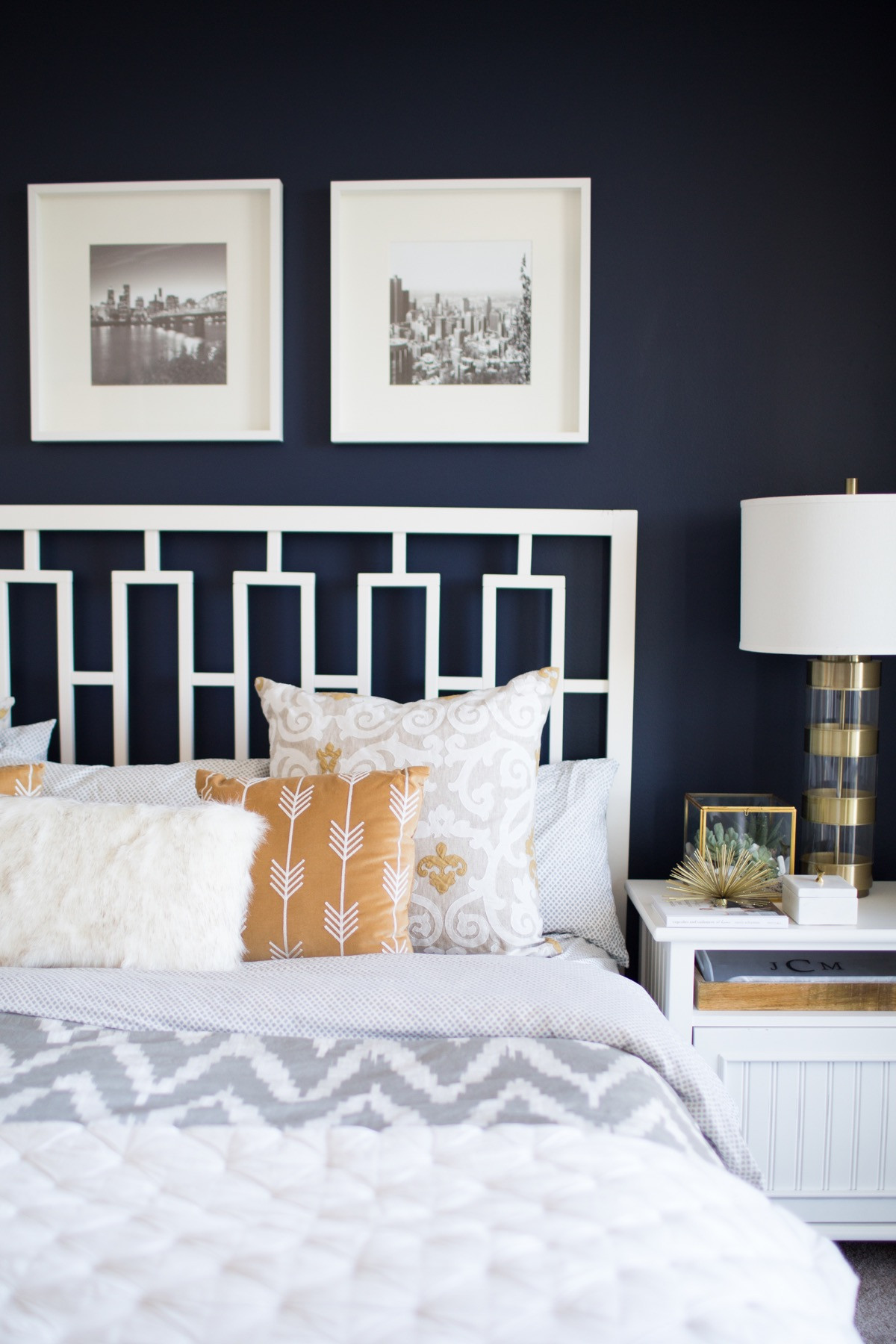Bedroom With Blue Walls  A Look Inside A Blogger s Navy and Mustard Bedroom My