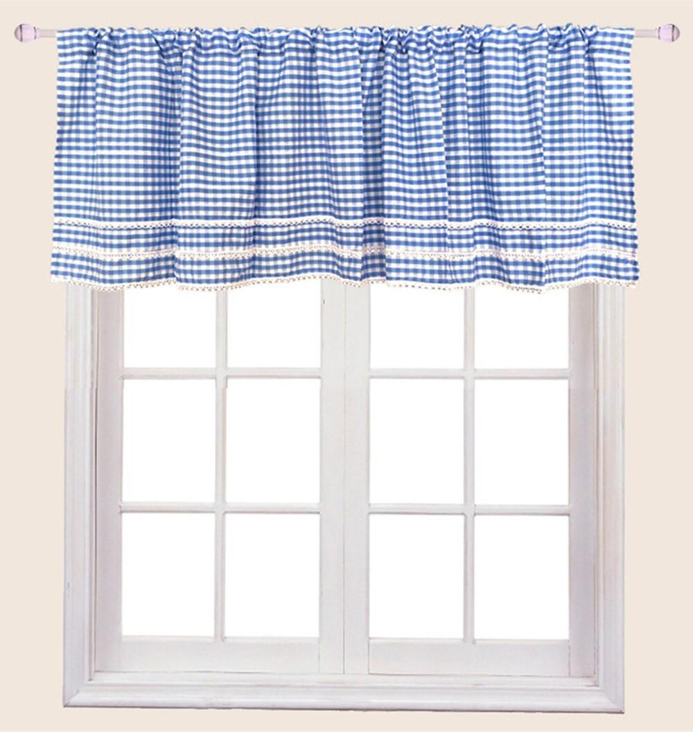 Blue Kitchen Curtains  Aliexpress Buy ZHH Blue Plaid Short Curtain for