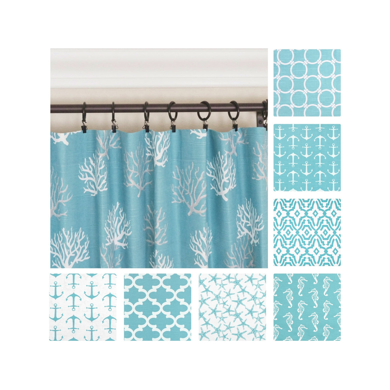 Blue Kitchen Curtains  Aqua Curtains Blue Window Curtains Nautical Curtains Kitchen