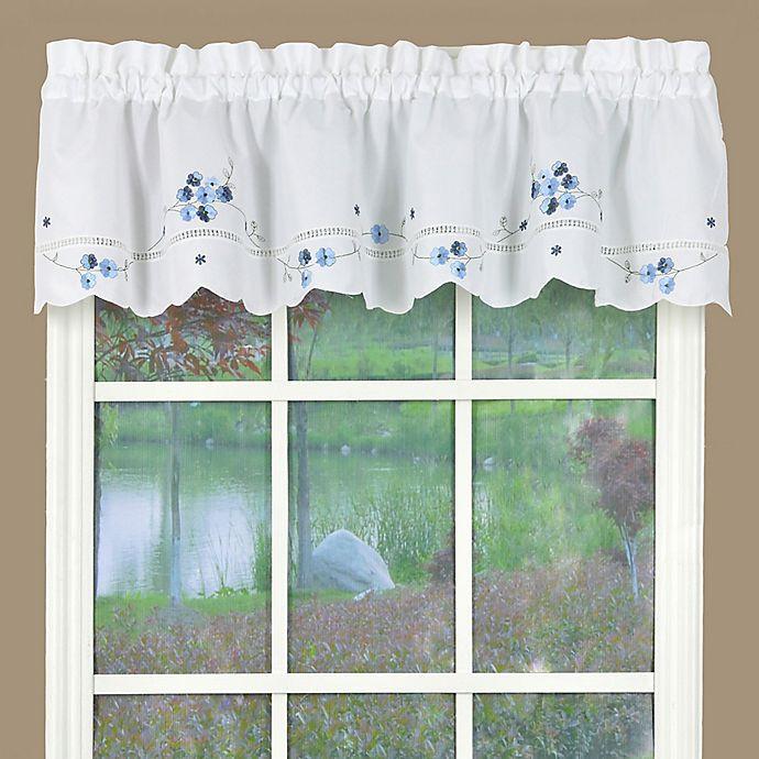 Blue Kitchen Curtains  Buy Christine Kitchen Window Valance in White Blue from