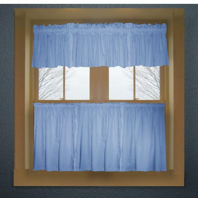 Blue Kitchen Curtains  Caribbean blue color tier kitchen curtain two panel set