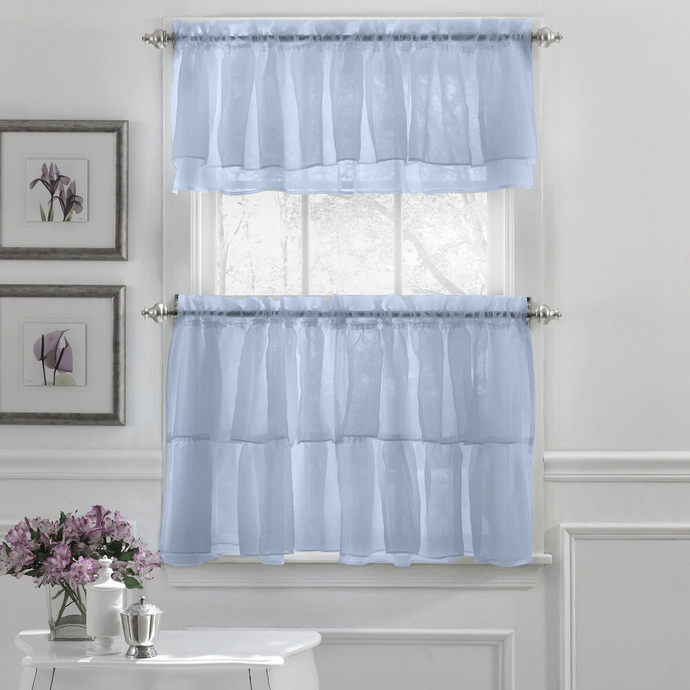 Blue Kitchen Curtains  Gypsy Crushed Voile Ruffle Kitchen Window Curtain Tiers or