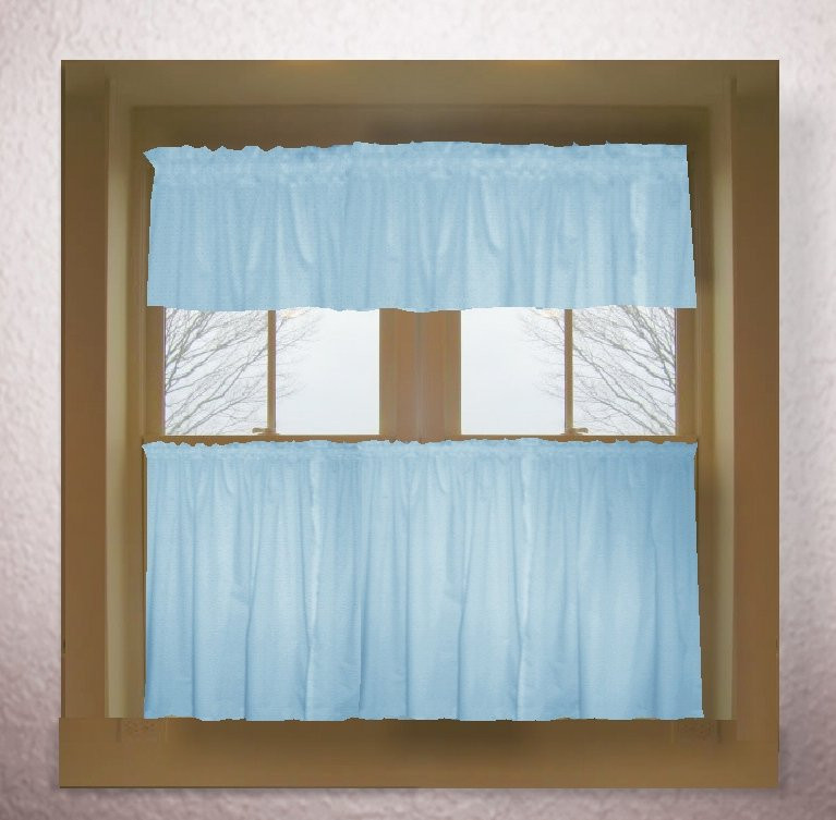 Blue Kitchen Curtains  Light baby blue color tier kitchen curtain two panel set