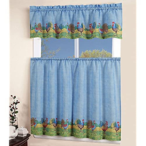 Blue Kitchen Curtains  Country Blue Kitchen Curtains Amazon